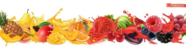Fruit en bessen barsten. scheutje sap. zoet tropisch fruit en gemengde bessen. watermeloen, banaan, ananas, aardbei, sinaasappel, mango. 3d-realistische objecten