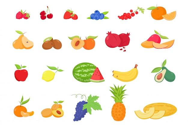 Fruit en bessen in cartoon-stijl
