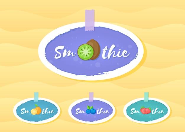 Fruit en bessen smoothie drink label collectie