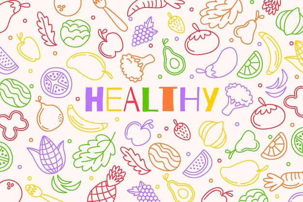 Fruit en groenten schetst achtergrond