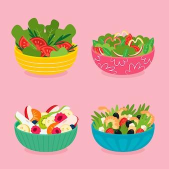 Fruit en salade kommen concept