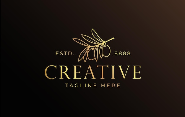 Fruit en tak olijfolie logo ontwerpsjabloon