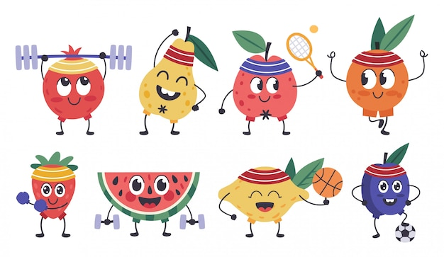 Fruit fitness karakters. doodle fruitmascottes sporten, grappige appel, citroentraining, gezonde oefeningen en meditatie iconen set. fruit eten, peer en citroen, rijp ananas