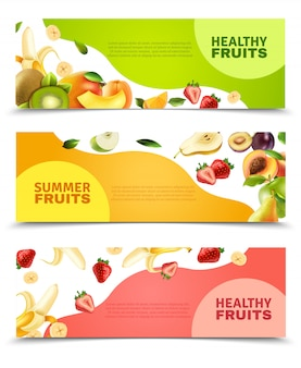 Fruit flat banners set