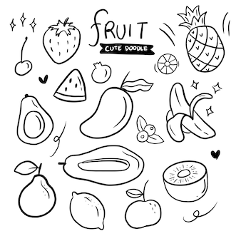 Fruit hand getrokken doodle set collectie