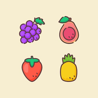 Fruit icon set collectie druif guave aardbei ananas wit