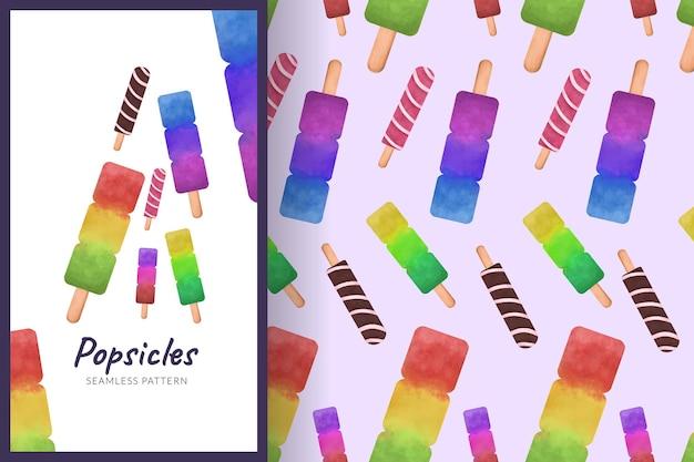 Fruit ijslollys illustratie naadloos patroon
