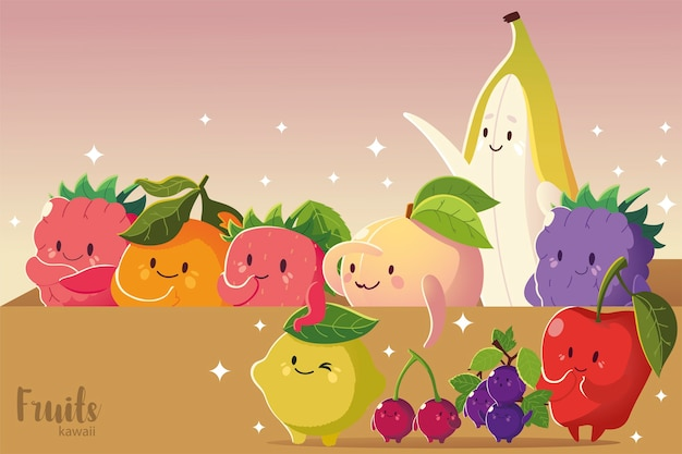 Fruit kawaii grappig gezicht appel banaan kers druiven aardbei citroen perzik vectorillustratie