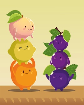 Fruit kawaii grappig gezicht geluk druiven perzik sinaasappel en citroen vectorillustratie