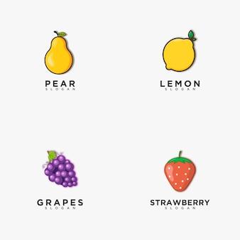 Fruit logo ontwerp. peer, citroen, druiven, aardbei