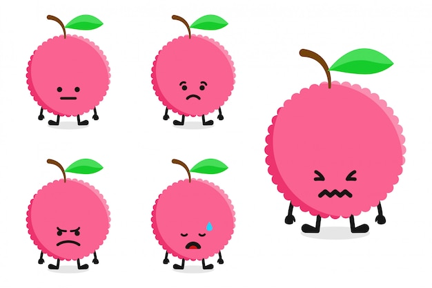 Fruit lychee tekenset