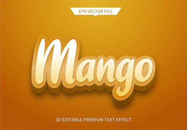 Fruit mango 3d bewerkbaar tekststijleffect