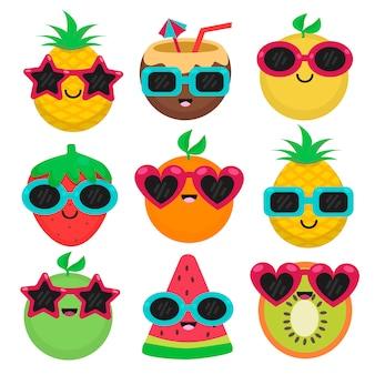 Fruit met zonnebril in zomer set