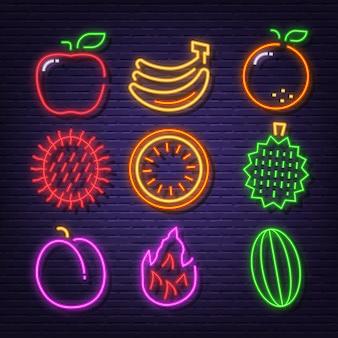 Fruit neon pictogrammen