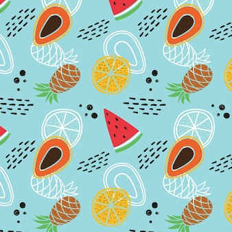 Fruit patroon met watermeloen en ananas