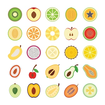 Fruit plat pictogrammen