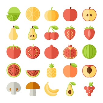 Fruit platte icon set