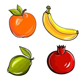 Fruit set, appel, banaan, limoen, granaatappel.