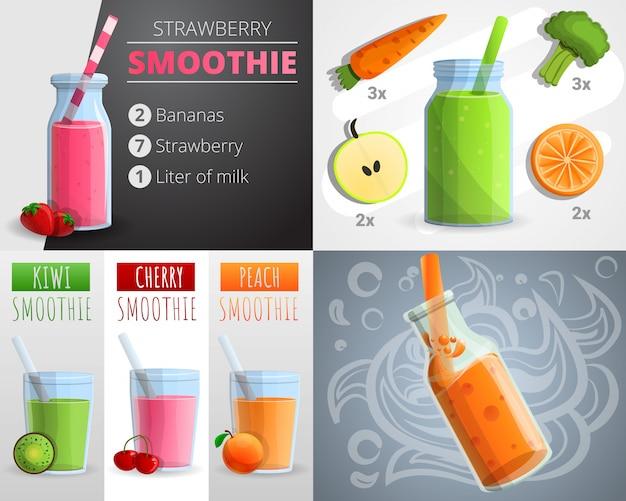 Fruit smoothie banner set, cartoon stijl