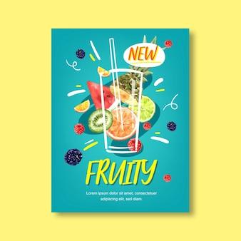 Fruit thema met verschillende vruchten, blauwe achtergrond illustratie sjabloon.