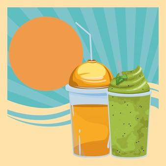 Fruit tropische smoothie drankje cartoon