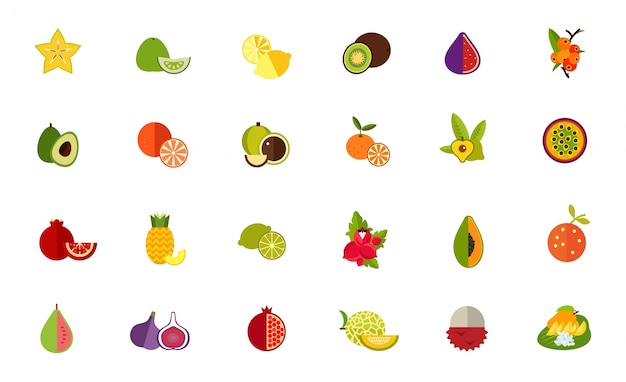 Fruit verscheidenheid pictogram set