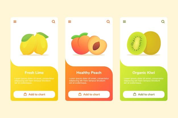 Fruit verse limoen gezonde perzik biologische kiwi aan boord campagne