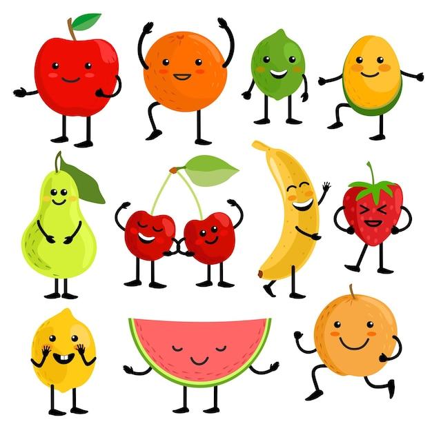 Fruit voor kinderen leuke fruitkarakters vector illustratie gezond sap cartoon kawaii zomerfruit