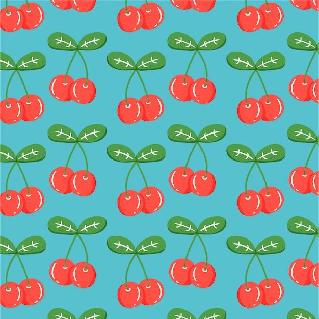 Fruitachtergrond met hand getrokken kers