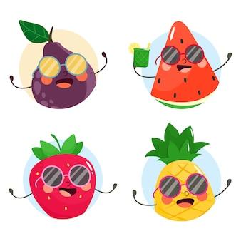 Fruitavatars in zonnebril. verzameling. illustratie in cartoon vlakke stijl.