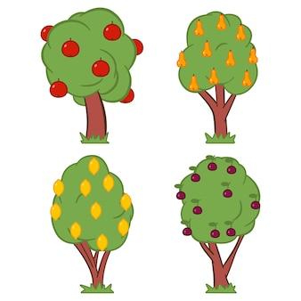 Fruitboom cartoon vectorillustratie geïsoleerd op een witte achtergrond.