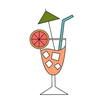 Fruitcocktail met ijs. eenvoudige illustratie. zomer icoon