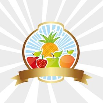 Fruitetiket op de onderste regels