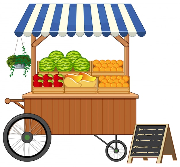Fruitkar winkel cartoon stijl geïsoleerd