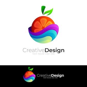 Fruitlogo met kleurrijke ontwerpillustratie, 3d-stijl