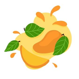 Fruitlogo sappige mango handgetekend in een platte tropische fruitstijl