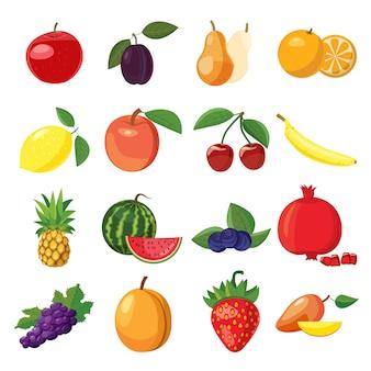 Fruitpictogrammen in beeldverhaalstijl worden geplaatst op een witte achtergrond die