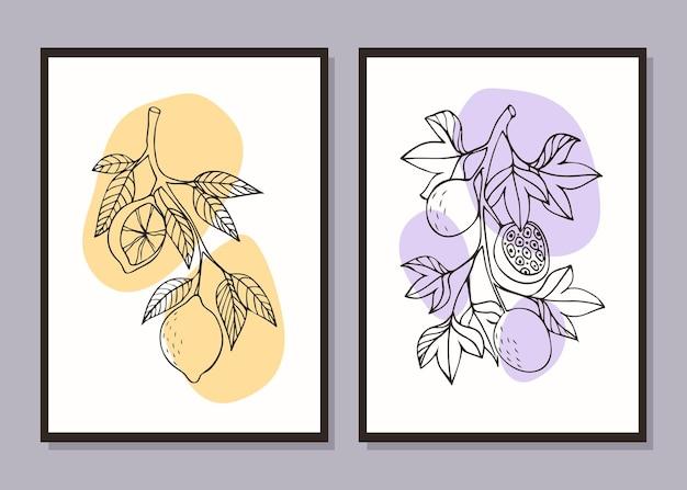 Fruitset minimalistische posters citroen en passievrucht