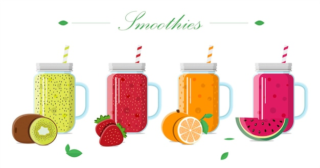 Fruitsmoothie in een glazen pot met een deksel en een rietje set vectorillustraties van drankjes uit vers...