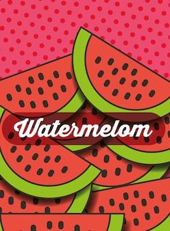 Fruitwatermeloen op de gestippelde achtergrond