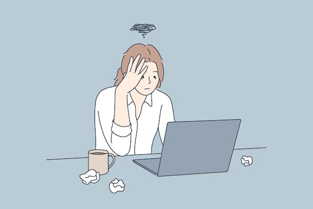 Frustratie depressie angst bedrijfsconcept overbelasting deadline.