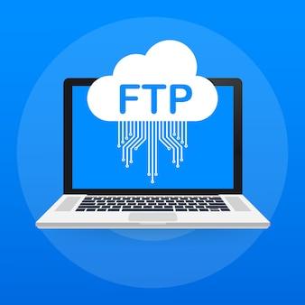 Ftp-bestandsoverdracht op laptop. ftp-technologie. gegevens overbrengen naar server. .