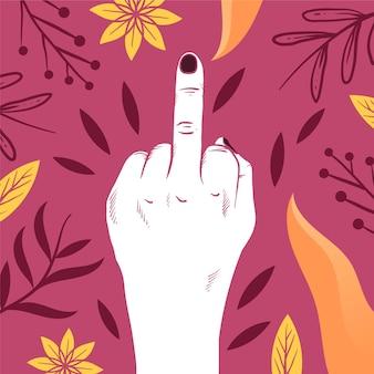 Fuck you-symbool met bloemen en bladeren