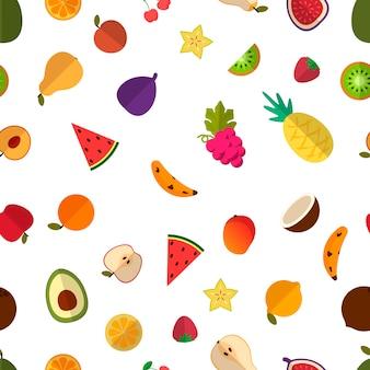 Fuit saladepatroon op wit