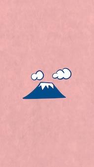 Fuji-berg met sneeuw op de top van mobiele telefoons