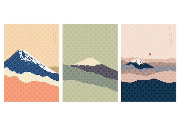 Fuji bergachtergrond met japans patroon. landschapsmalplaatje in wijnoogst. beroemde bezienswaardigheid in japan.