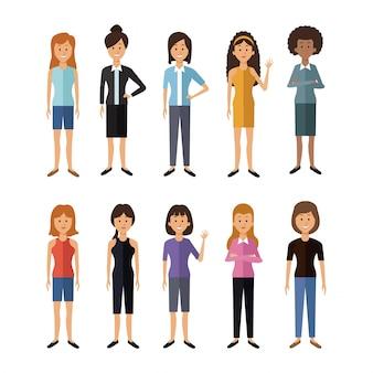 Full body group vrouwelijke mensen van de wereld