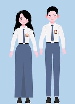 Full body senior middelbare school student in indonesische uniformen. senior middelbare scholieren illustratie.