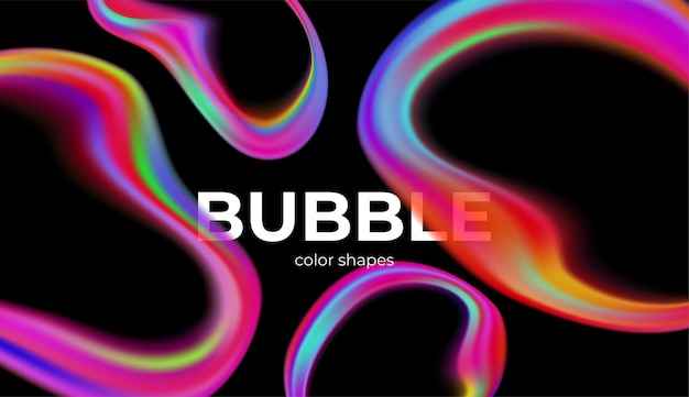 Full colour trendy transparante bubbels op zwart. Premium Vector