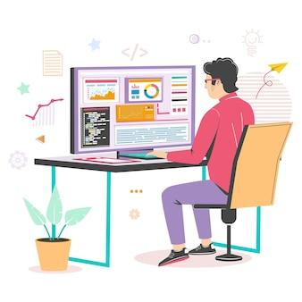 Full-stackontwikkelaar die aan computer vectorillustratie werkt het professionele webontwikkelaarprogramm...
